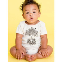Organic Baby Onesuit in Natural  TREE OF LIFE  by ZenKids on Etsy