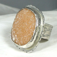 Peach Druzy Ring by Marajoyce on Etsy