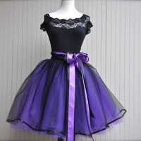 Black overlay grape purple tutu skirt for women.  Retro look tulle skirt edged in black satin ribbon with extra long bi color bows.