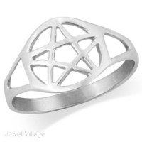 925 Sterling Silver Tarnish-free WICCA PENTACLE Ring Size 6 -rc2