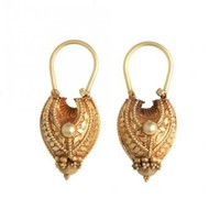 Love, Adorned : VINTAGE INDIAN 18K YELLOW GOLD HOLLOW TEAR DROP EARRINGS - IN18KGE