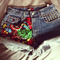 Vintage Tommy Hilfiger Studded Marvel The Avengers High Waist Shorts