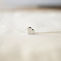 Sweet Silver Heart  Sterling Silver Chain & Tiny by MadeByMaru
