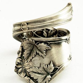 Victorian Maple Tree Sterling Silver Spoon Ring  Made by Spoonier