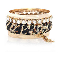 Girls brown leopard print bangle pack