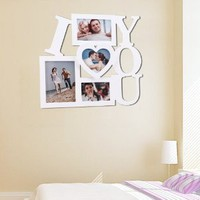 Amazon.com: 4 Opening Photo Picture Frame - 12AD002 ADECO - Wall Art, Wall Collage ,&quot;I LOVE YOU&quot; Design, Holds One 5&quot;x7&quot;, One 6&quot;x4&quot;, One 5&quot;x3.5&quot; and One 5&quot;x4.5&quot; Inch Photos Great Gift,Wooden,White: Home &amp; Kitchen