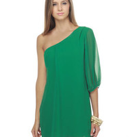 Bright Green Dress - One Shoulder