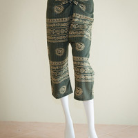 3/4 Hippie Pants Size S/M Tie waist Ancient Om Scripts Design (Dark Green-1)
