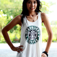 Starbucks Singlet , White T-Shirt , lady T-Shirt , Women T-Shirt , Crazy T Shirts , Tattoo Shirts, T shirt Size M