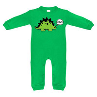 Rawr! Dinosaur Green Long Sleeve Romper