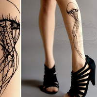 thighhigh Jellyfish TATTOO gorgeous  stockings by tattoosocks