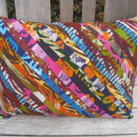 Hippie Print Decorative Batik Throw Pillow Cover 12 x 16 - Hand Printed Textiles