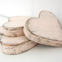 wooden hearts shabby chic pink cottage decor style wedding decor YOUR COLOR CHOICE