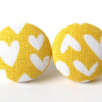 Valentine's day Mustard yellow stud earrings hearts bright funky