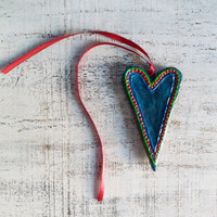 Teal heart Valentine Day decor, Valentine gift
