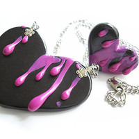 "Heart Collection / ""Pink Splatter"" / Handmade polymer clay ring and necklace set"
