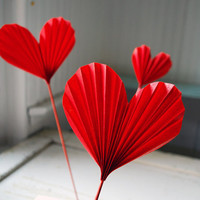 Red Heart Blossoms, Paper Valentines, First Wedding Anniversary gift, Origami Hearts to add to a Bouquet