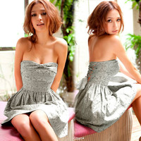 Fashion New Women Bowknot Backless Female Cocktail Dress Solid Grey Black