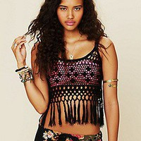 Anna Kosturova Free People Clothing Boutique > Tassel Fringe Crochet Tank