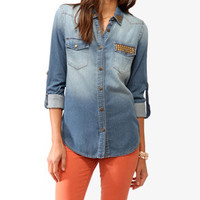 Life In Progress Studded Denim Shirt | FOREVER 21 - 2025102328