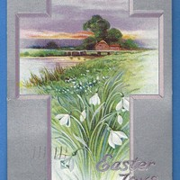 TUCK Vintage Postcard Easter Joys Silver Cross Designs 1914 embossed