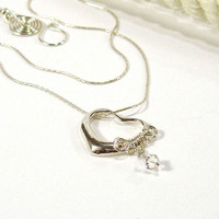 Sterling Silver Heart Necklace, Wire Wrapped with Crystal Drop