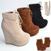 Womens Ankle Boots Faux Suede Wedges Closed Toe Booties NEW