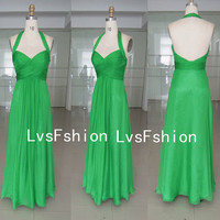Halter Sweetheart Long Gren Chiffon Green Prom Dresses, Bridesmaid Dresses, Evening Dresses, Party Dresses, Homecoming Dresses