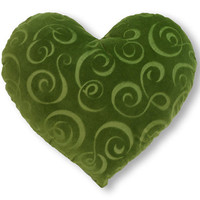 Green Swirl Heart Shaped Decorative Pillow Classic Size