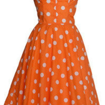 Style Icon's Closet 50s style Vintage Inspired Pin-Up African Print Retro Rockabilly Clothing — Polka Dot 50s Style Rocakabilly Swing Dress