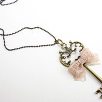Antique Key Necklace Pendant w/ Pink Ribbon Bow Tie - Handmade Jewelry