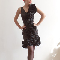 Custom Made Black Stretch Satin Sheath Dress With by LanaStepul