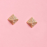 Beside the Point Gold Pyramid Earrings