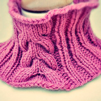Pink Cabled Knit Cowl