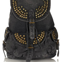 Studded Denim Backpack