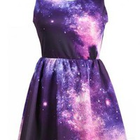 Purple Pink Galaxy Pattern Dress S009864