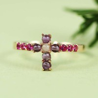 Pink Gold Ruby Amethyst Cross Ring