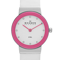 Skagen Color Border Leather Strap Watch | Nordstrom