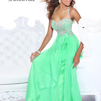 Sherri Hill 3836 - Green Jeweled Prom Dresses Online