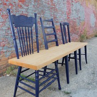DIY Ideas / recycle old chairs to a bench. Would love this on an outdoor porch or with a picnic table!