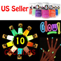 Nabi Glow in the Dark Neon Nail Polish Lacquer Full Size 10pc set US Seller
