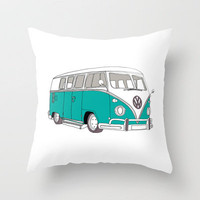 Blue Volkswagen Camper Van (Landscape) (Kombi / VW) Throw Pillow by BLUEBUTTON STUDIO | Society6