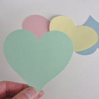 Large Wedding Hearts Paper Cut Outs Cutouts Pastel Colors Paper Hearts Scrapbook Embellishments Wedding Wish Tags Decorations  Set of 25