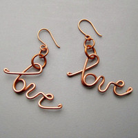 Valentines Day Solid Copper Love Earrings Cursive by belleazure
