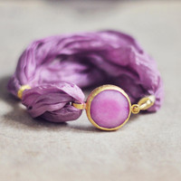 fashion jewelry unique bold sweet  candy pink framed jade stone and silk bracelet by YUNILIsmiles