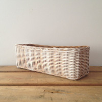 Wicker Basket - Rectangle Basket - Desk Accessory - Dorm Decor