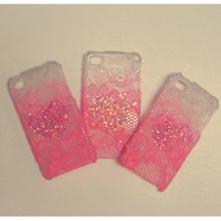 Ombre Iphone Lace Case in 'I am Hearts for you'