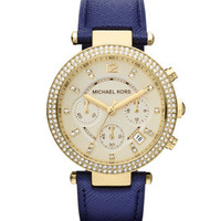 MICHAEL Michael Kors  Mid-Size Navy Leather Parker Chronograph Glitz Watch - Michael Kors