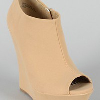 Bamboo Driven-80N Nubuck Peep Toe Wedge Bootie