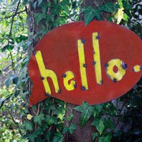 recycled hello pop art wall sign